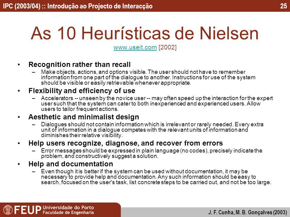 As 10 Heurísticas de Nielsen www.useit.com [2002]
